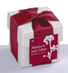"DIY Favors have never been so chic! Our 2"" x 2""monogram favor boxes arrive complete with box and lid, 1"" double-faced satin ribbon in your choice of one of David's Exclusive colors, matching personalized non-adhesive tag and glue dots."
