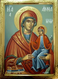Byzantine Icons, Byzantine Art, Religious Icons, Religious Art, Greek Icons, Santa Ana, St Anne, Orthodox Christianity, Art Icon