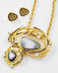 Antique Gold Tone Metal / Green Abalone Shell & Clear Rhinestone / Lead Compliant / Pendant / Necklace & Post Earring Set