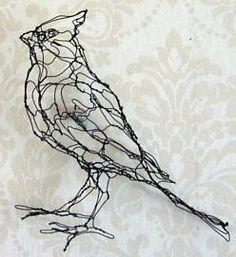 cardinal bird wire sculpture