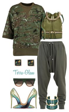 """""""Live The Olive Life"""" by terra-glam ❤ liked on Polyvore featuring Isabel Marant, CÉLINE, MANU Atelier, Balmain, River Island, Christian Louboutin, Lele Sadoughi, women's clothing, women's fashion and women"""