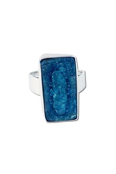 """One of a Kind Ring with a Rectangular Piece of Blown Glass. It's a great piece to give as a gift since it features an adjustable band so no need to worry about sizes. Because of its Hand-made nature every ring is Unique.  Adjustable Measurements: Rectangle: .39"""" (1 cm) X .78"""" (2 cms). Band is .23"""" (.6 cms) at widest point Hand-Made by Servando Dominguez in Taxco Mexico.  Blown Glass Ring by Tis tiK. Accessories - Jewelry - Rings Atlanta Georgia"""