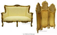 Gold room divider and sofa