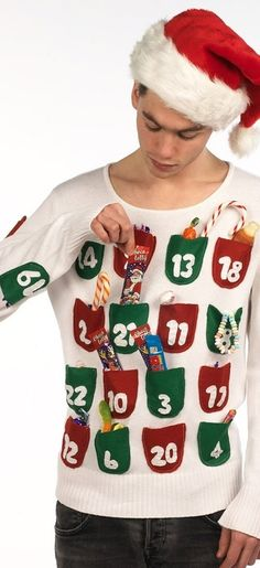 Ugly Christmas Sweater Ideas - Reasons To Skip The Housework Advent Calendar Sweater: If you are attending an ugly Christmas sweater party this year, we have got you covered! Here are 25 Ugly Christmas Sweater Ideas for you to use as inspiration. Tacky Christmas Party, Diy Ugly Christmas Sweater, Christmas Costumes, Xmas Sweaters, Christmas Outfits, Christmas Scenes, Ugly Sweaters Diy, Christmas Ideas, Tacky Sweater