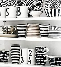 White Kitchen Decor, Cute Kitchen, Kitchen Dishes, Black And White Dishes, Ceramic Tableware, Kitchenware, Pin On, Reno, Jar Storage