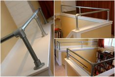 Who says that pipe handrail only belongs outdoors? Both functional and aesthetic, pipe railing can create a great industrail accent to your space. Pipe Railing, Deck Railing Design, Wall Railing, Staircase Railings, Stairways, Interior Railings, Railing Ideas, Industrial Farmhouse Decor, Industrial Stairs
