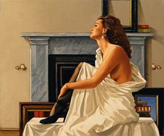 Model in White, 1993 - Painting by Jack Vettriano