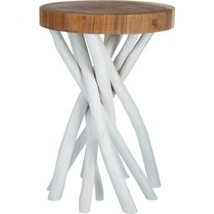 White Twisted Wooden Side Table ($35) ❤ liked on Polyvore featuring home, furniture, tables, accent tables, white end table, wooden end tables, wood table, twisted wood table and twisted wood side table
