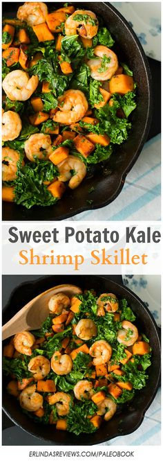 This Sweet Potato, Kale and Shrimp Skillet is Paleo, gluten free and healthy easy dish without scarf