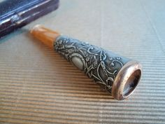 Engraved Silver Cigar Holder Gold Ring by LaBelleEpoqueDeco