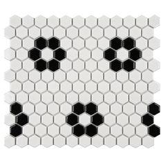 SomerTile Victorian Hex 1-inch Flower Porcelain Mosaic Tile (Pack of 10) | Overstock.com