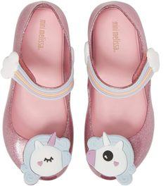 708af1798b07 Mini Melissa Ultragirl Unicorn Glittery Mary Jane Flat Walker Shoes