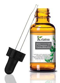 Kriama Vitamin C Serum - Anti Wrinkle, Anti Aging Serum - 20% Vitamin C & Hyaluronic Acid - Reduces Lines, Wrinkles, Under-Eye Bags, Skin Discoloration & Pigmentation - For Younger, Glowing Skin - 1Oz