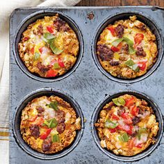 Savory Egg Muffins...replace sausage with mushrooms or beyond meat and you've got a vegetarian breakfast - CookingLight.com