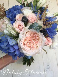 Букет невесты. Гортензия,пионовидная роза, астильба