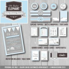 Oh Baby Elephant Baby Shower Bundle: Party Printables Kit- Invite- Baby Shower Games- Party Decorations - Blue & Grey - Baby Boy- Digital