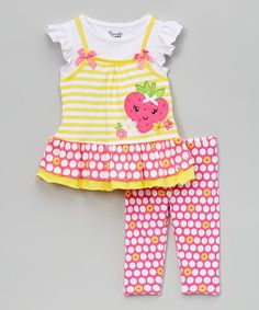 Look what I found on #zulily! Yellow & Pink Ruffle Strawberry Tunic & Leggings - Toddler & Girls #zulilyfinds