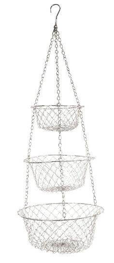Fox Run 3 Tier Hanging Vegetable Fruit Kitchen Storage Wire Basket White