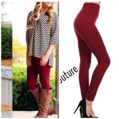 High Waist Tummy Control Leggings Burgundy Nwt one size fits all will fit sizes small through size 14 . High  waist fleece leggings . Perfect for daily use and holds tummy well with banded high waist band . Other colors are black , burgundy & olive .  . 2 for $32 Vivacouture Accessories Hosiery & Socks