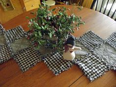 Rustic Rag Quilt Table Runner by TheLaughingBlackbird on Etsy