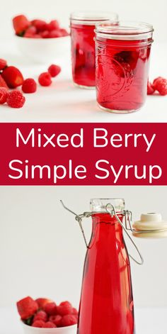 Mixed Berry Simple Syrup for Summer Drinks Easy homemade mixed berry simple syrup recipe. Perfect addition to refreshing summer drinks, pancakes and ice-cream! This recipe is so simple, you'll be making it all summer long! Summer Drink Recipes, Iced Tea Recipes, Syrup Recipes, Triple Sec, Cocktail Syrups, Cocktail Recipes, Soda Stream Recipes, Mint Simple Syrup, Simple Sugar