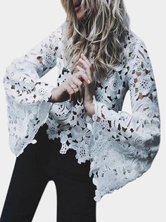 White Hollow Design Flared Sleeves Lace Blouses