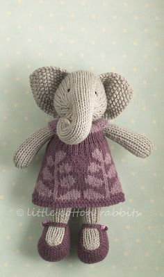 knitted elephant and dress pattern - little cotton rabbits Knitting For Kids, Knitting Projects, Baby Knitting, Crochet Projects, Knitting Patterns, Crochet Patterns, Knitting Toys, Shawl Patterns, Knit Or Crochet