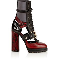 Burberry X Barneys New York Women's Cut-Out Leather & Snakeskin... ($1,795) ❤ liked on Polyvore featuring shoes, boots, ankle booties, burgundy, cut out booties, high heel booties, burgundy ankle boots, cut out ankle boots and lace up platform bootie