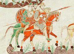 Guerrieri carolingi. Miniatura del IX secolo, dal Salterio di S. Gallo, Biblioteca del Monastero di S. Gallo.