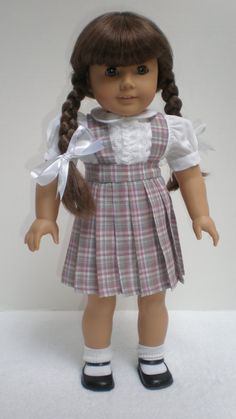 1940s Plaid Pleated Skirt Molly or Emily fits American Girl 18 inch doll. Also comes in blue. Need to buy the short sleeve white shirt separately. - $15