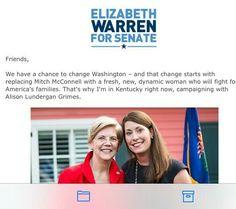 Senator Elizabeth Warren went to Kentucky to help Alison Grimes when her Senate election.