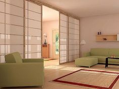 This contemporary living room is filled with traditional Japanese elements such as the shoji door, soft neutral colors, natural wood floors. Notice the similarity between the display shelf and the storage and display shelving in the traditional tokonoma. Even the upholstery is very Japanese in color - the color of green tea.