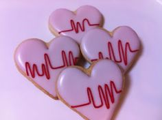 Medical Heart Cookies. decorating idea.... Cute but I'd rather have mine without v-tach/fib on them lol