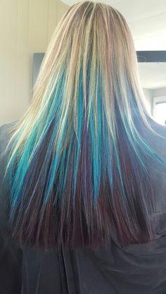 Purple, blue and turquoise Elumen goldwell ~ Jenn's hair studio