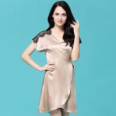 JESSIY new 100% silk pajamas summer Spring Autumn silk sexy nightdress Nightgown women clothing