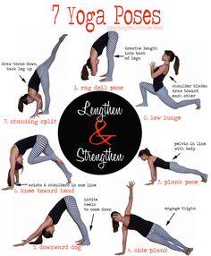 Sequence: 7 Poses to Lengthen and Strengthen Pin it! A sequence to lengthen and strengthen. 7 yoga poses (then repeat other side)Pin it! A sequence to lengthen and strengthen. 7 yoga poses (then repeat other side) Ashtanga Vinyasa Yoga, Yoga Bewegungen, Yoga Moves, Yoga Flow, Pilates Yoga, Iyengar Yoga, Pilates Reformer, Yin Yoga, Yoga Motivation