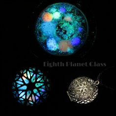 Glow in the dark galaxy locket, by Eighth Planet Glass