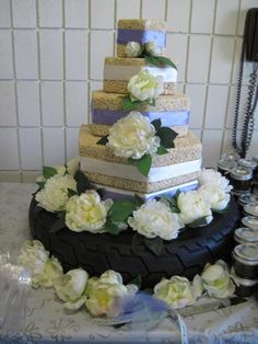 Our Rice Krispie wedding cake with motorcycle tire cake stand.