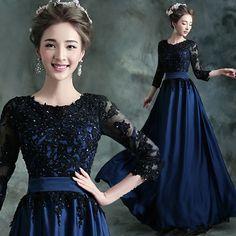 2015 azul Royal preto longo Lace vestido de noite elegante de luxo lantejoula mulheres vestidos formais especial ocasião vestidos frete grátis