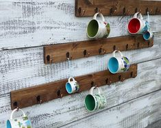 Coffee cup holder coffee cup rack Hook coffee mug rack coffee mug holder coffee cup display Holds Starbucks You Are Here Mugs Add a Shelf Coffee Cup Rack, Coffee Mug Display, Coffee Mug Holder, Coffee Cups, Jacobean Stain, Coffee Signs, Funny Coffee Mugs, Starbucks Coffee, Design Your Own Mug