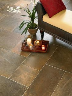 Stone-Like Porcelain:  Old World grotto with all the chip and moisture protection of hard-wearing ceramic. If the house is a new construction, it's crucial to allow the slab to fully cure before laying the tile. (Photo courtesy of Mannington)