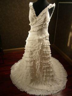 Hippie Boho Wedding Dress Bridal Gown with Straps, V Neckline and Corset Closure Chiffon. $919.00, via Etsy.