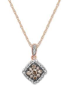 8668527e15bb Diamond Halo Pendant Necklace (1 3 ct. t.w.) in 14k Rose Gold. )