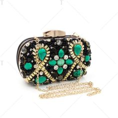 Faux Gem Satin Beaded Evening Bag Black And Green (64 BAM) ❤ liked on Polyvore featuring bags, handbags, evening handbags, faux-leather handbags, evening bags, green purse and imitation purses
