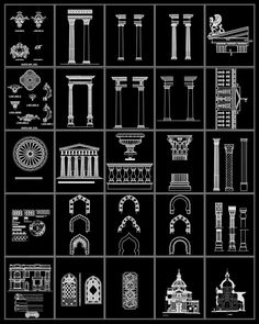 Ornamental Parts of Buildings 8 – CAD Design Beautiful Architecture, Architecture Details, Architecture Diagrams, Architecture Portfolio, Traditional Home Decorating, Cad Blocks Free, Neoclassical Interior, Mosque Architecture, Drawing Interior
