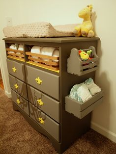 Changing table dresser with side storage octopus dresser