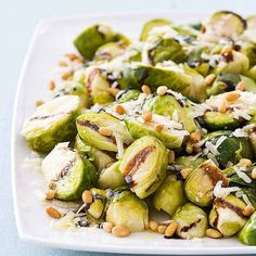 Balsamic Brussels Sprouts with Pine Nuts