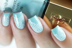 Stamping nail art using YSL: Bleu Céladon and Born Pretty Store plate, mandala / lace pattern, blue and white nails