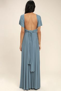 Versatility at its finest, the Tricks of the Trade Slate Blue Maxi Dress knows a trick or two! Long fabric wraps into several bodice styles. Flattering Bridesmaid Dresses, Backless Bridesmaid Dress, Velvet Bridesmaid Dresses, Affordable Bridesmaid Dresses, Bridesmaid Dresses Online, Bridesmaid Dress Styles, Backless Dresses, Blue Bridesmaids, Maxi Dresses