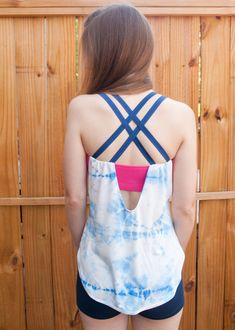 Shibori Pneuma Tank – Design By Lindsay Diy Clothing, Sewing Clothes, T Shirt Reconstruction, Yoga Tank Tops, Tank Design, How To Make Clothes, Yoga Wear, Couture, Knit Patterns